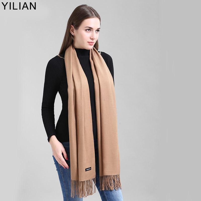 YILIAN Šal blagovne znamke Kašmir Ženske, ki ne izgubi toče, Vrhunska kakovost Najnovejši gladek topel zimski šal YL-001