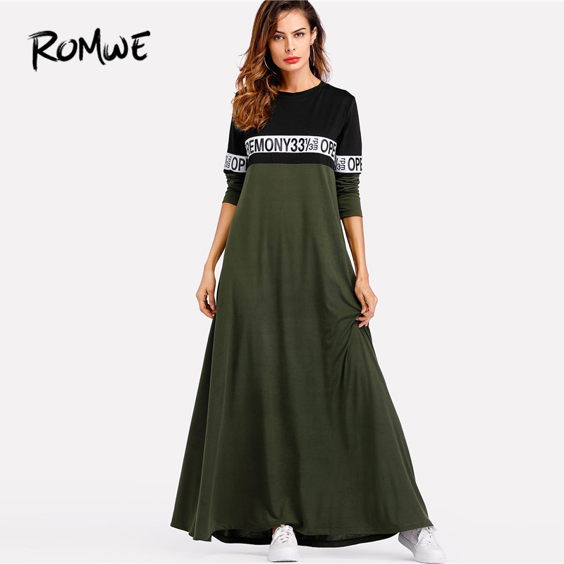 search for latest latest trends select for genuine US $19.99 45% OFF|ROMWE Letter Tape Cut And Sew Swing Maxi Dress 2019 Army  Green Colorblock Long Sleeve Dress High Waist Cool Women Dress-in Dresses  ...
