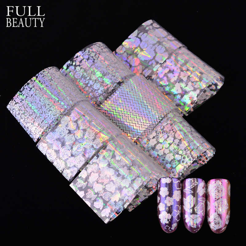 Full Beauty 8pcs/set Transparent Colorful Paper Nail Foils Rose Stripe Flower DIY Laser Glitter Nail Adhesive Sticker CH141
