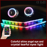 1 Set Car Headlight APP Control Lampshades Bright RGB Auto LED DRL Shine Angel Eye And