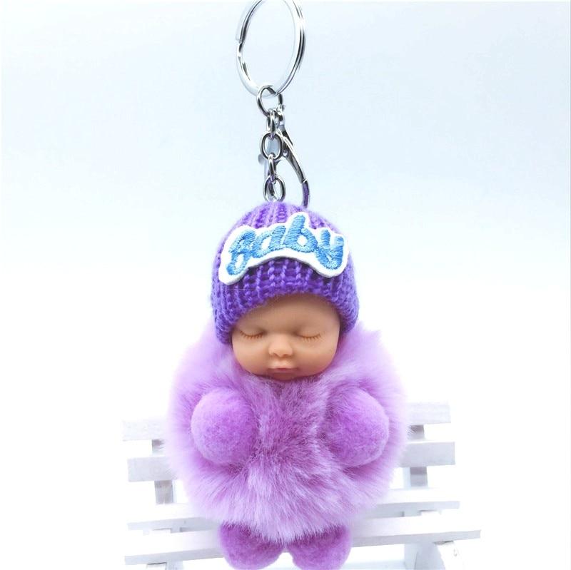 2017 Cute Doll Keychain Women 12Cm Pompom Ball Toy Rabbit Key Chains Charm Pendant Bag Car