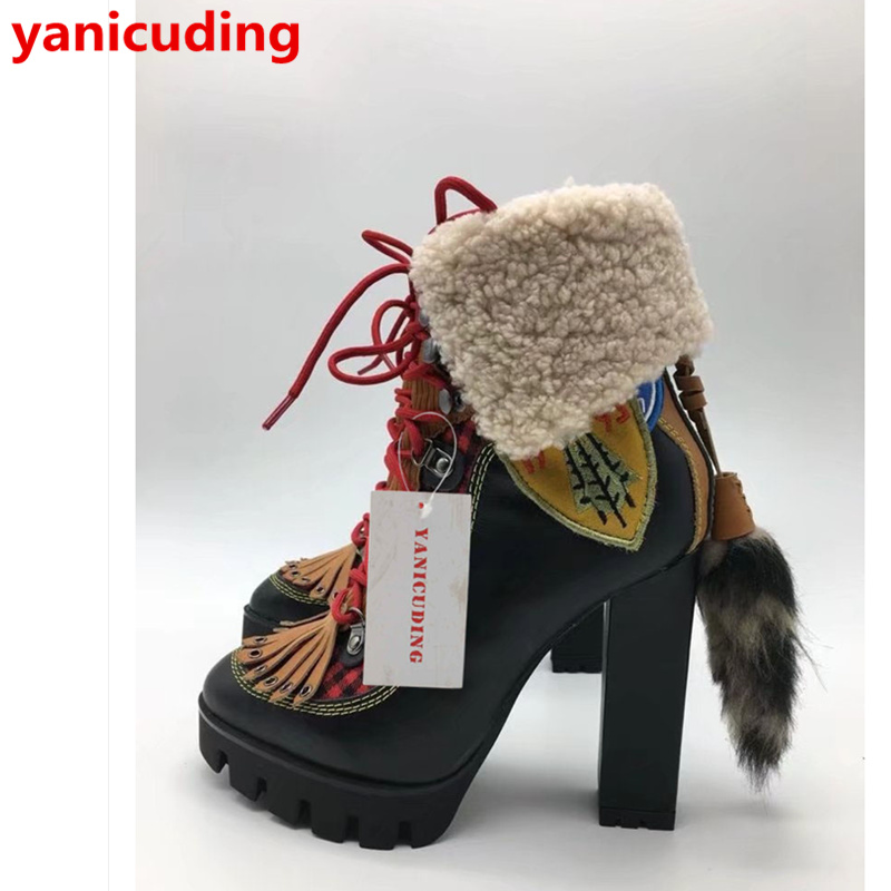 Front Lace Up Women Winter Boots Tassel Embellished Fur Tail Decor Shoes Round Toe Women Boots Short Booties Chaussures Femmes round toe women boots short booties luxury brand designer super star runway shoes chaussures femmes front lace up shoes flats