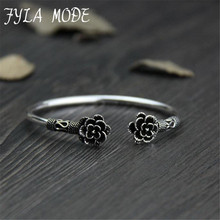 Fyla Mode Double Flowers Design Antique 925 Thai Silver Bangle Bracelet For Women Black Best Pretty Jewelry Gift PKY321