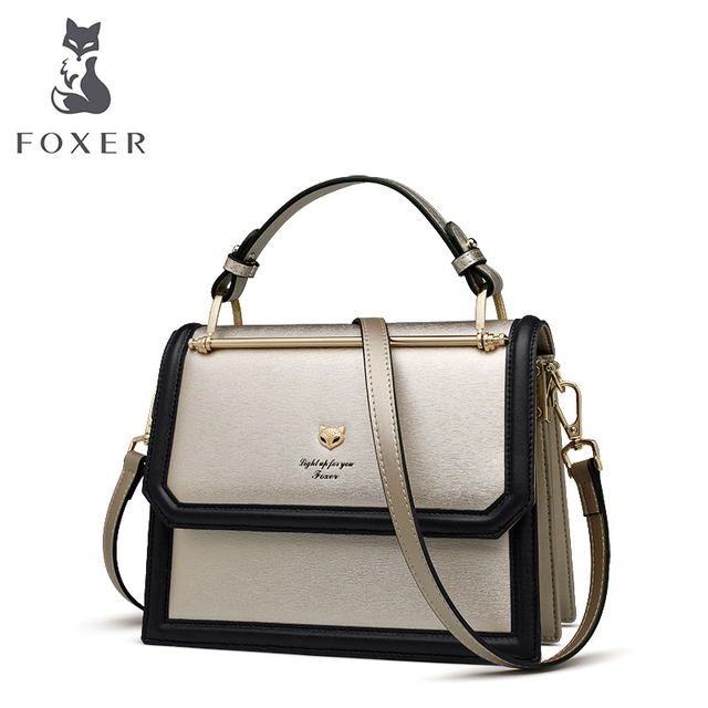f2653f9c8abb FOXER Brand Women s Crossbody bags Accordion Design Shoulder Bags Split  Leather Messenger Bags Female New Fashion