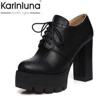 2017 más el tamaño 34-43 Del Otoño Del Resorte Botas Vintage Lace Up cuadrados Tacones Altos Plataforma Punta Redonda de Las Mujeres Zapatos de Mujer Botines botas