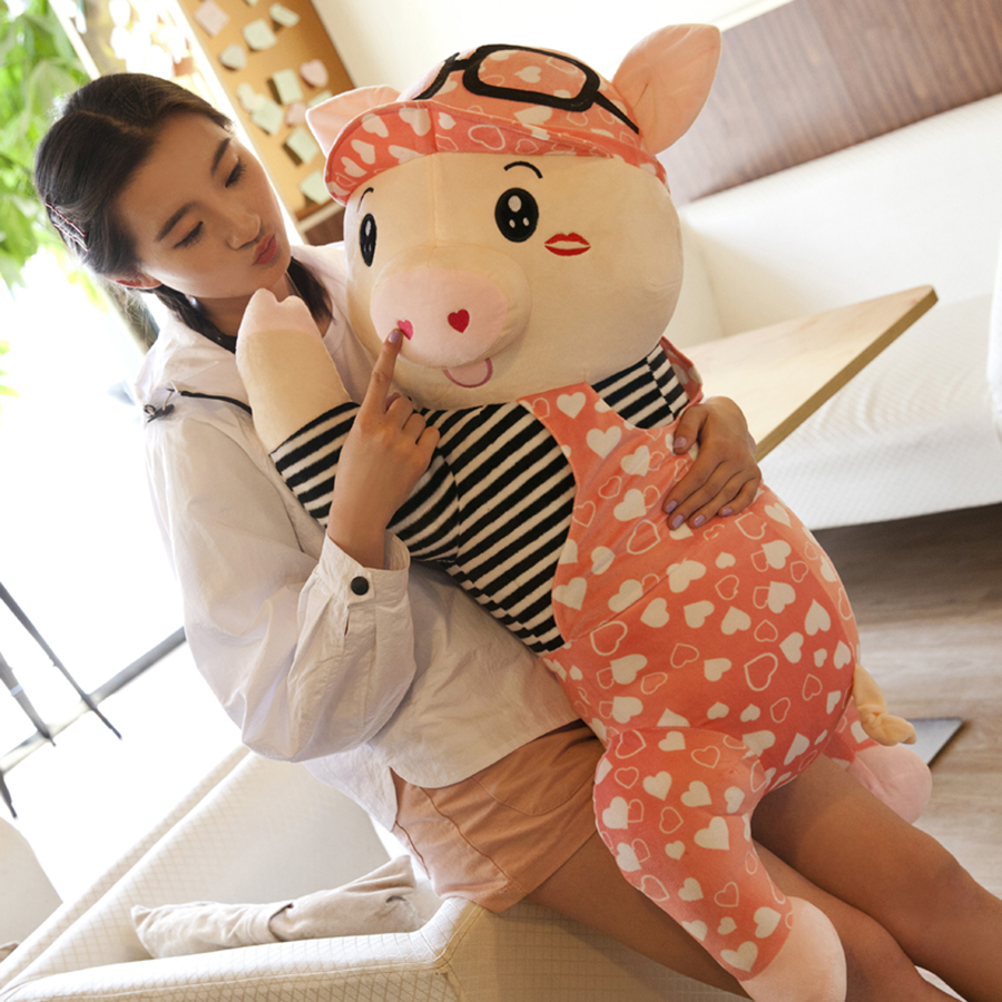 80cm Giant Plush Pig Toy Soft Ty Stuffed Animals Pillow Kawaii Baby Kids Toys Dolls Animal Juguete Toy Pelucias 50T0045 kawaii baby dolls