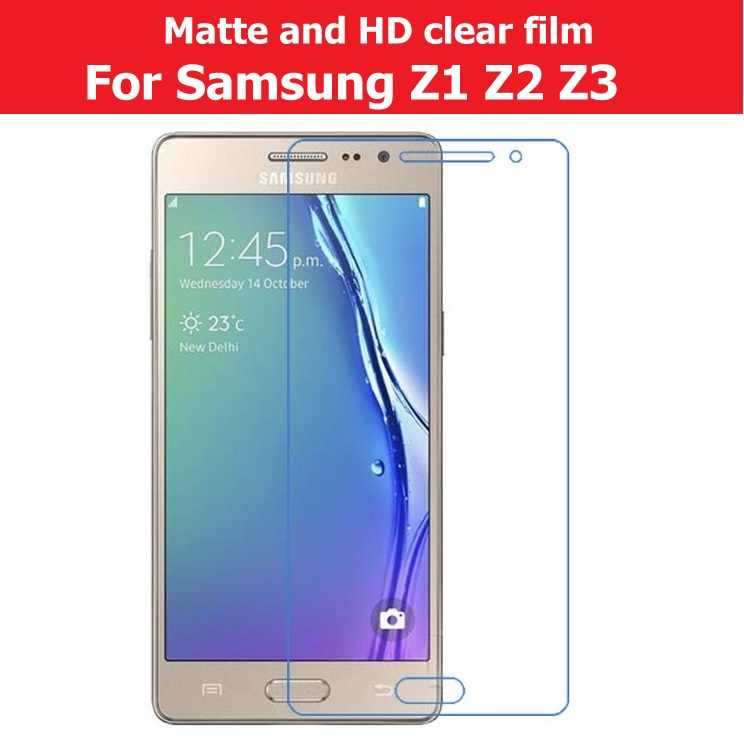 HD Clear Glossy Film For Samsung Z1 Z130H Z2 Z3 Matte Film of Anti-Glare  Screen Protector Film LCD panel guard+cloth+retail pack