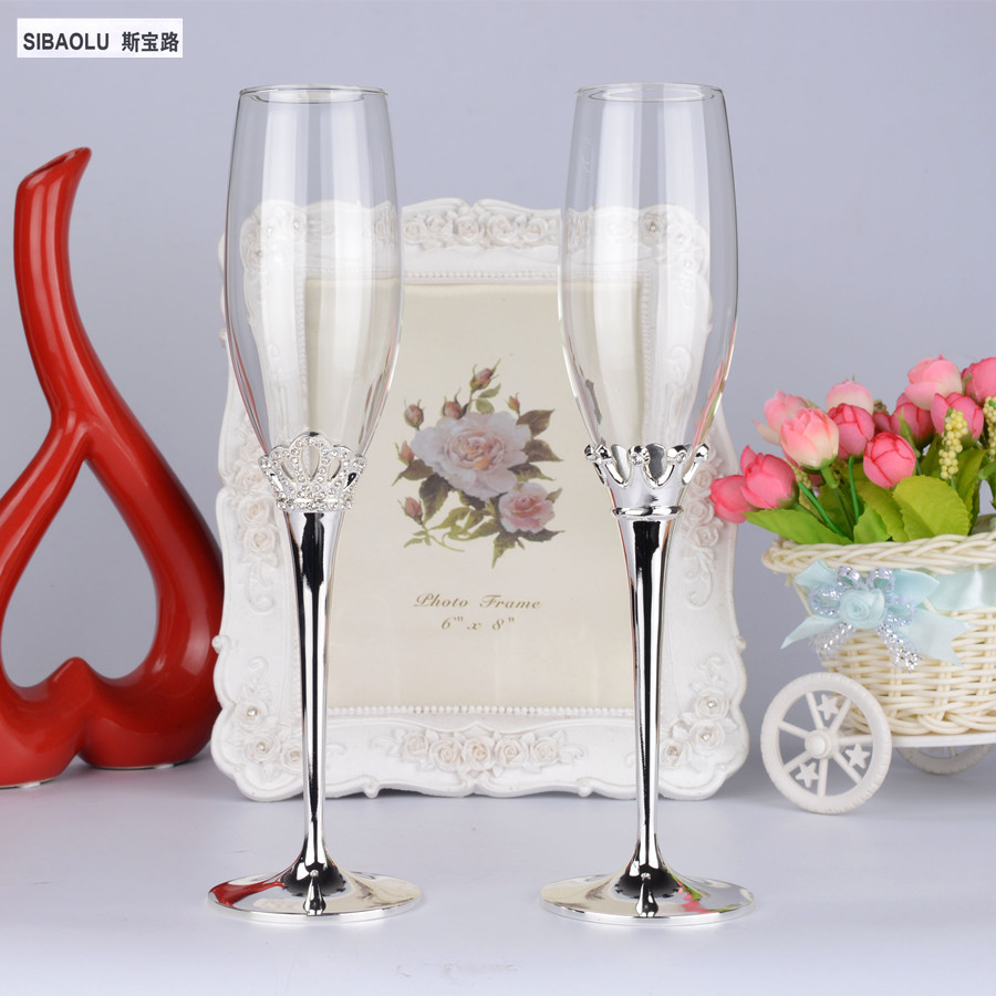 Glass decorations - Champagne Glass Wedding Male S Women S Imperial Crown Champagne Glass Decorations Wine Glasses Wedding Gifts Wedding Decoration