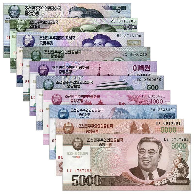 North Korea Full Set 10 PCS , 5 10 50 100-5000 Won, 100th COMM. UNC