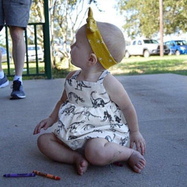 94417b753 Da criança Infantil Do Bebê Meninas Vestido de Dinossauro Dos Desenhos  Animados Impressão Vestidos Roupas Roupas