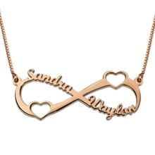 Comercio al por mayor Personalizada Nombre Collar de Oro Rosa de Color Infinito Infinito Doble Corazón Collar de Joyería de Las Mujeres