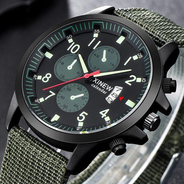 XINEW men watch sport waterproof Mens Military Steel Date Quartz Analog men watches Army Casual Wrist Watches erkek kol saati