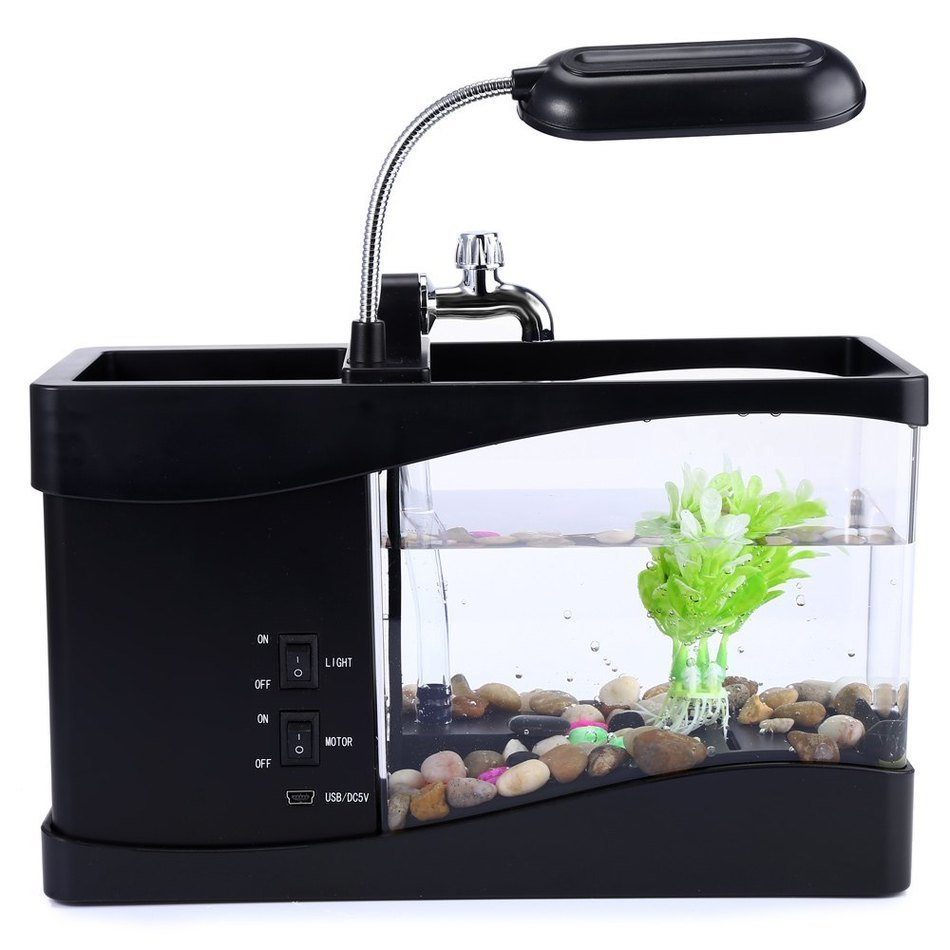 Usb mini aquarium fish tank - New Desk Lamp Usb Mini Fish Tank Desktop Electronic Aquarium Fish Tank With Water Running Led Pump Light Calendar Clock In Book Lights