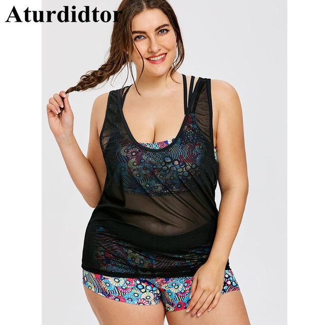 57341886e28 Floral Printed Tankini Swimsuits Women Plus Size Bathing Suit Three Piece  Bodysuit Large Size Mesh Cover