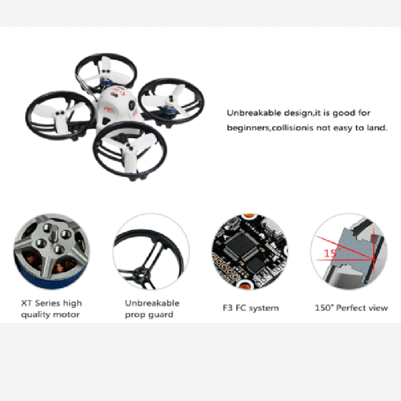 ET125 PNP Brushless FPV RC Racing Drone with Receiver Mini Racer Quadcopter Spare Parts jmt et125 pnp fpv brushless remote control racing drone mini helicopters flysky futaba receiver accessory