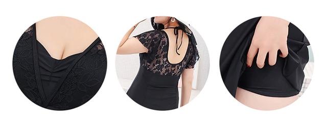 2018 Newest 6XL plus size swimwear one piece swimsuit black solid beachwear mesh short sleeve bodysuit skirt halter bathing suit 5