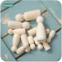 Bopoobo 4pc Wood People Different Size Natural Unfinished Ramp Preparation Paint or Stained Wooden Family Peg Dolls Block