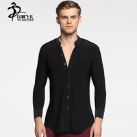Men S Stage Performance Shirts Black Color Long Sleeve Ballroom Salsa Competetion Dance Costumes Men Standard