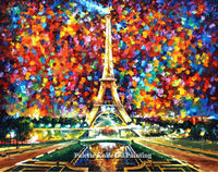 Home Decor Paris CityScape Eiffel Tower Oil painting Wall Art Canvas Picture Modern Abstract Home Decor Living Room
