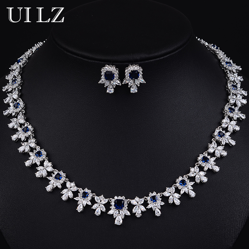 UILZ 3 Colors Options Luxury White Gold Plated Bridal Wedding Jewelry Sets For Women AAA+ Cubic Zirconia Diamond BLSP122