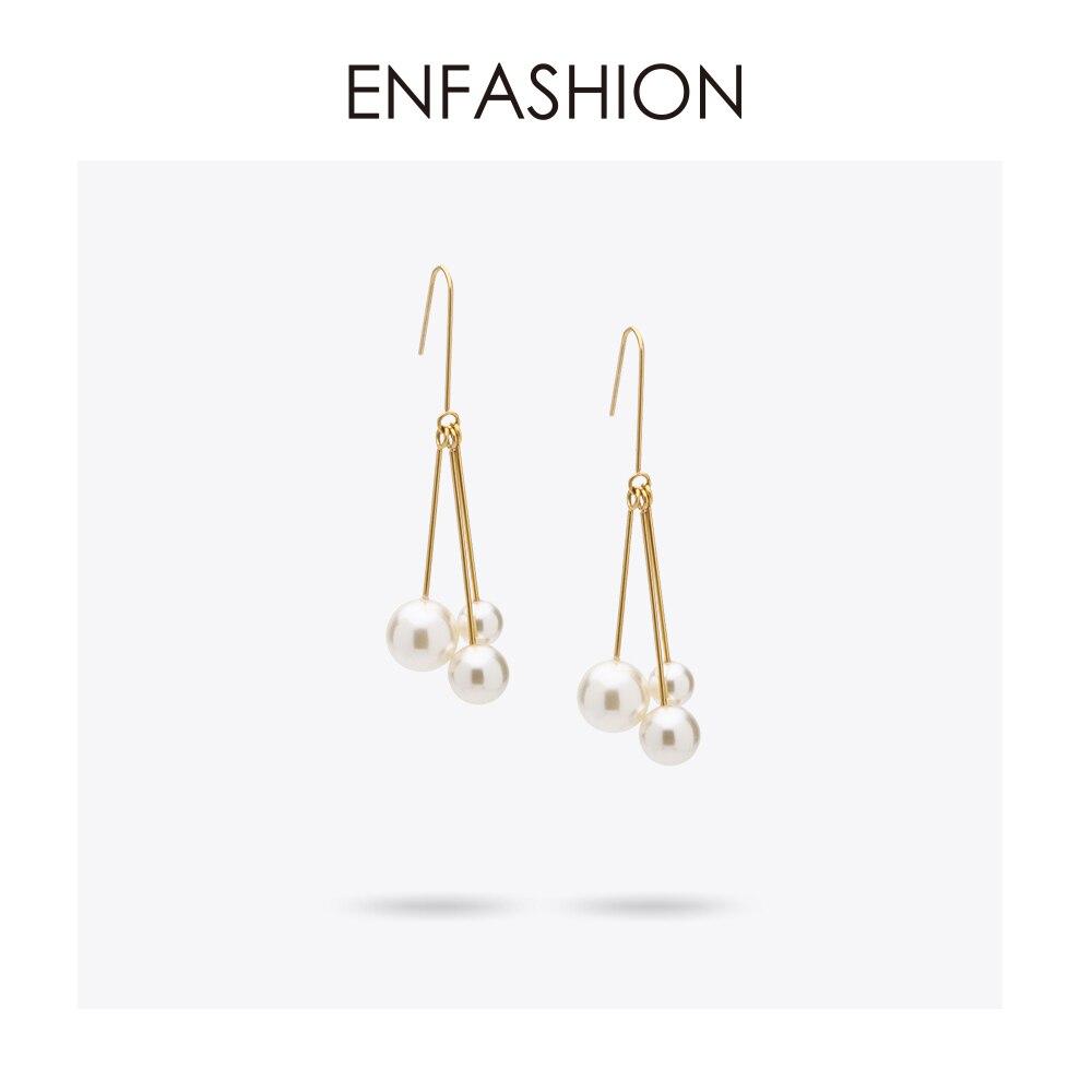 Enfashion Nachahmung Perlen Baumeln Ohrringe Gold farbe Ohrringe Ohrringe Für Frauen Lange Ohrring Schmuck ohrringe ohrringe