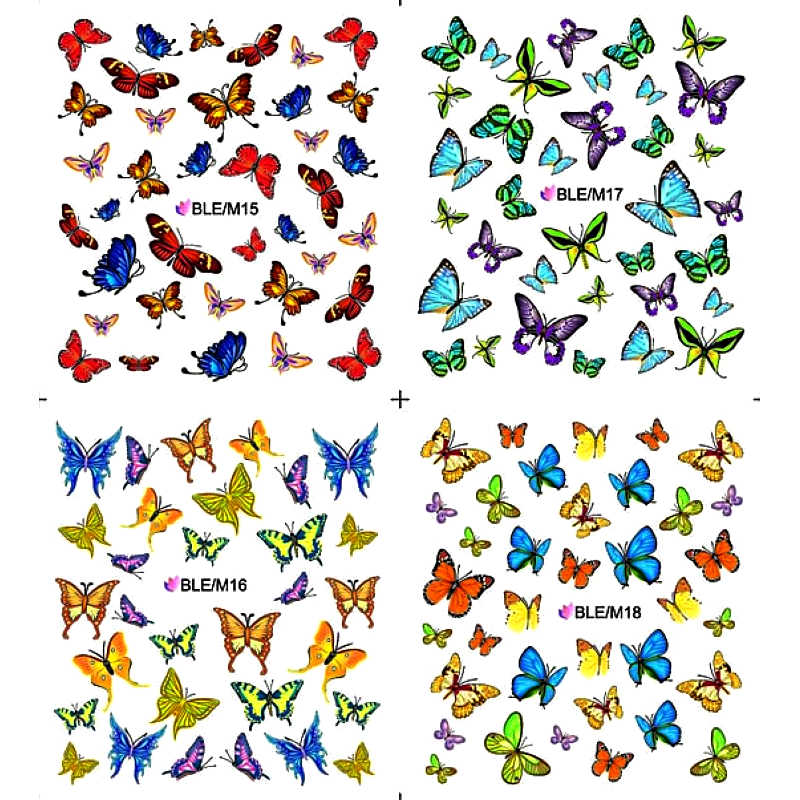 4 PACKS / LOT  Nail Art Water Transfers Stickers Nail Decals Stickers Water Decal BUTTERFLY FULL PAGE M015-M018