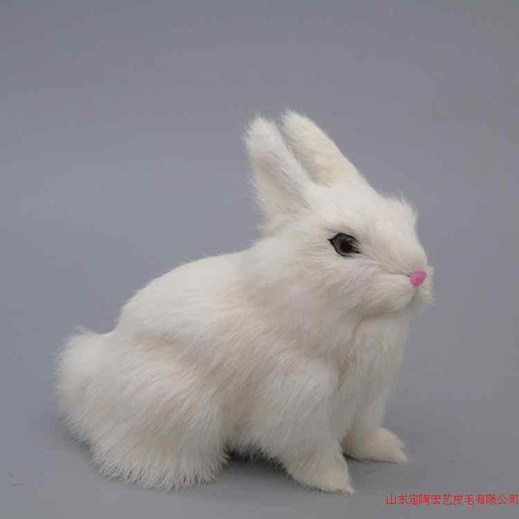 Моделирование милый белый корточках кролик 18x16 см модель полиэтилена и меха кролика модель украшения дома реквизит, модель подарок D539