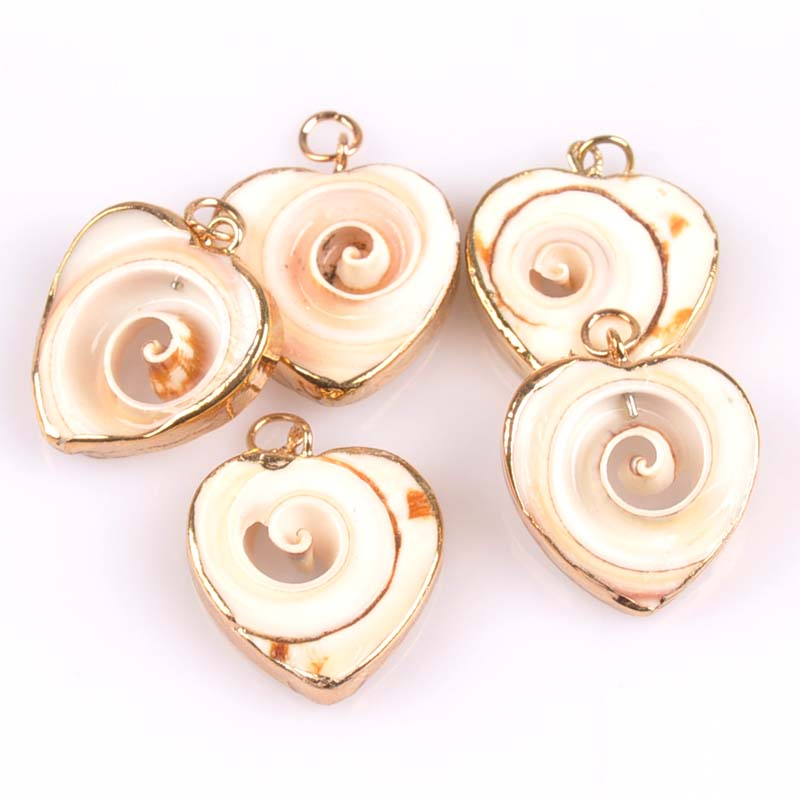 24-25mm Natural Heart Pattern Shell Gold Plated For DIY Handmade Pendant SeaShells Home Decoration 5pcs TRS0157X