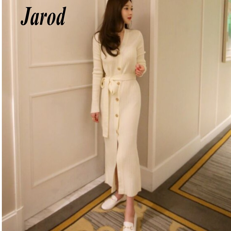 Korean Women Casual V-Neck Knitted Sweaters Dress 2018 Ladies fashion Single-breasted Sweaters Split Dress with belt