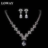 LOWAY Luxury Zirconia Gold Color Women Wedding Bridal Jewelry Sets Parure Bijoux Femme Necklace Earrings XL1920