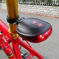 2016 New 5 LED And 2  Laser Beam MTB Mountain Bicycle Bike Rear Tail Warning Lamp Light Laser Tail Light Flashing Bycicle
