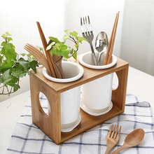 Originality Bamboo Wood Ceramic Tableware Storage Rack Kitchen Fork Collect Box
