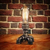Rustic Metal Vintage Iron Lamps Water Pipe Table Light Industrial Desk Lamp E27 Base Holder for Livingroom Lighting Fixture