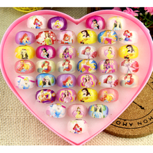 Wholesale Jewelry 36pcs box-packed Cute Mix Resin Flower shape Cartoon Girls Kids princess Children Lucite Rings Free Shipping