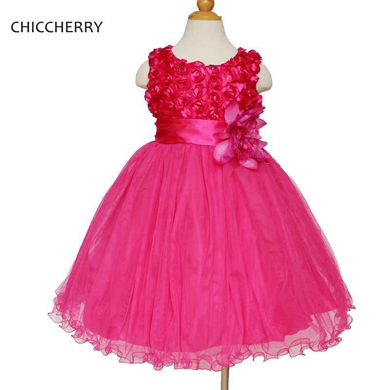 2018 3D Flores Menina Vestido de Renda para o Casamento Elegante Crianças Vestido de Festa de Formatura vestido de Baile para As Crianças Robe Princesse Fille