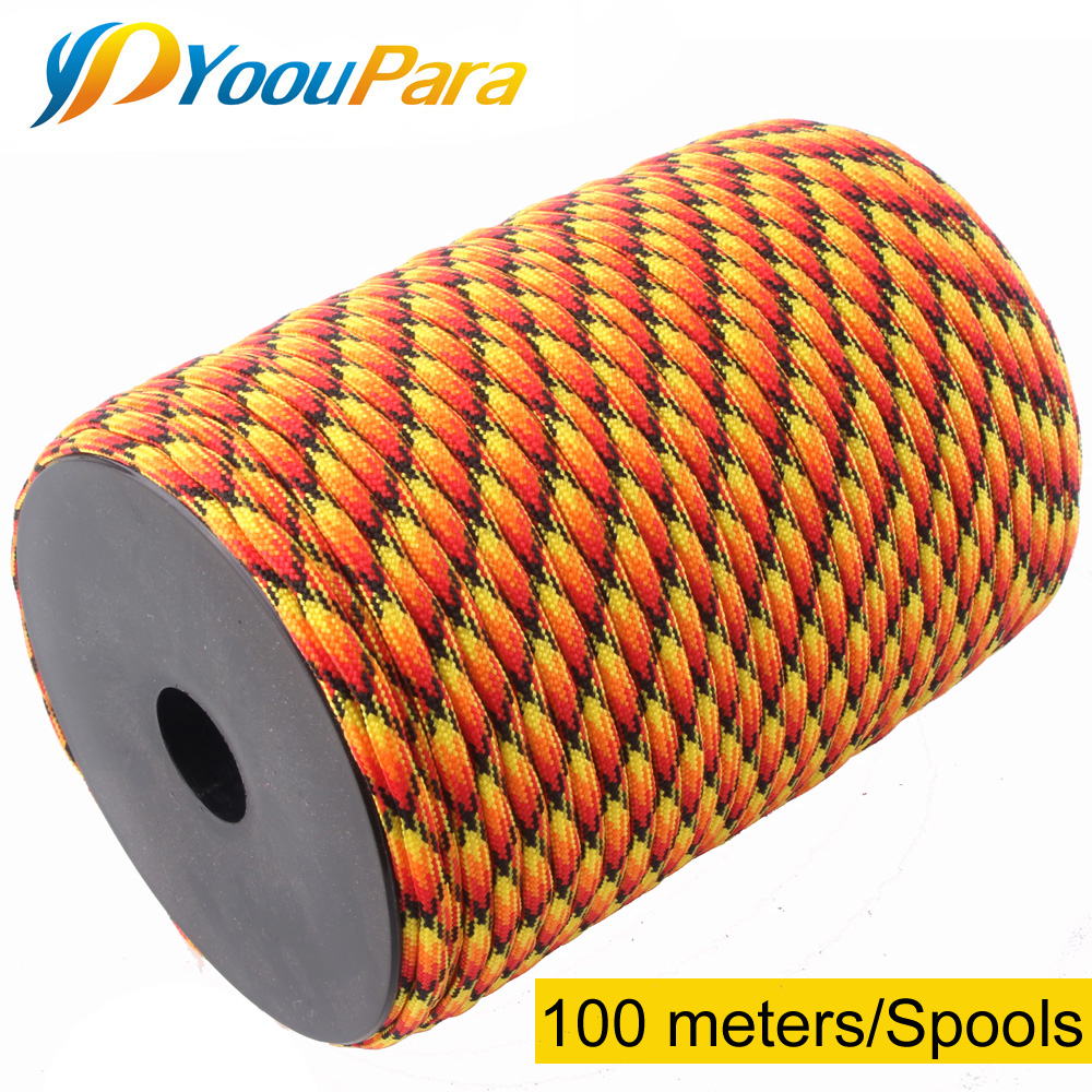 цена на 100m Spools Paracord 550 Rope Parachute Cord Lanyard 7 Strand Paracord Outdoor Camping Survival Emergency Equipment