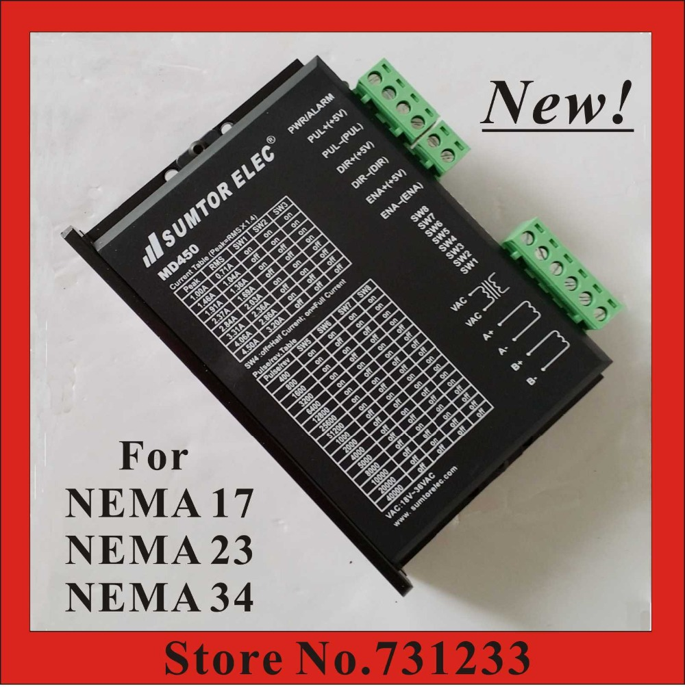 New! CNC Stepper Motor Driver MD450 For NEMA 17/23/34 Stepper Motor 1.0-4.5A DC18-50V AC 18-36V Super Low Noise Vibration cnc dc spindle motor 500w 24v 0 629nm air cooling er11 brushless for diy pcb drilling new 1 year warranty free technical support