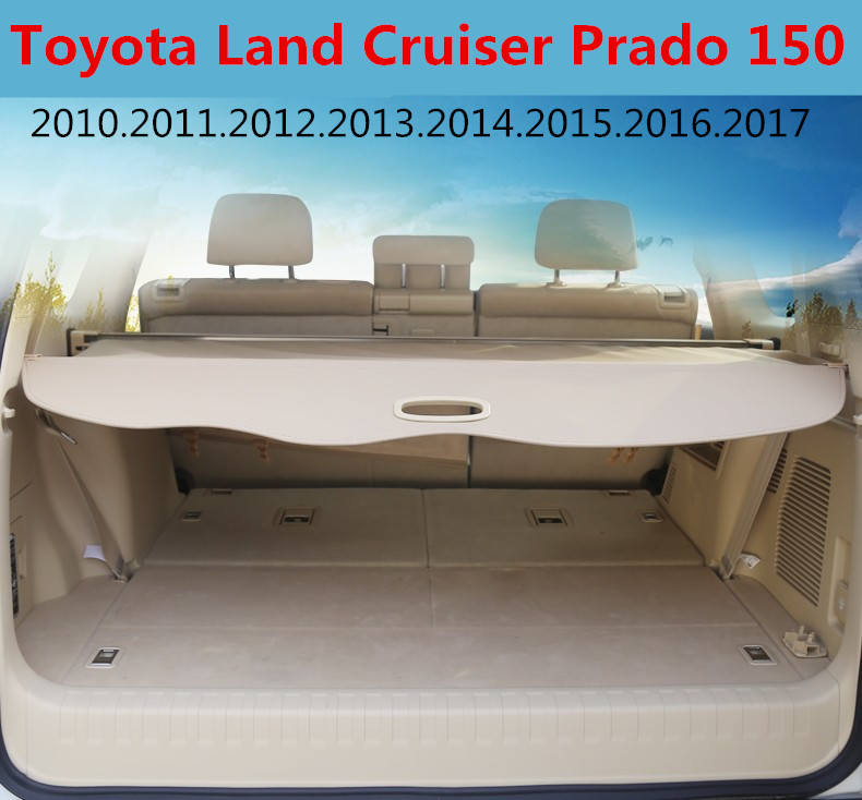 Car Rear Trunk Security Shield Cargo Cover For Toyota Land Cruiser Prado 150 2010-2017 High Qualit Trunk Shade Security Cover car rear trunk security shield cargo cover for subaru tribeca 2006 07 08 09 10 11 2012 high qualit black beige auto accessories
