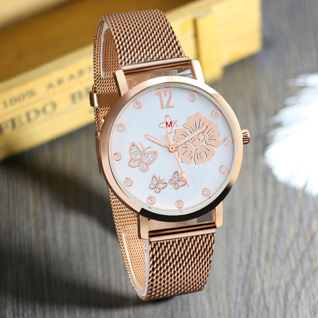 2018 Fashion Men's Simple Retro Butterfly Flowers Male Female Quartz Wristwatch