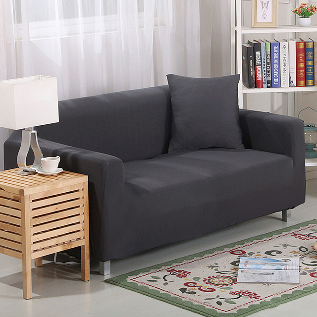 Dark grey solid color sofa cover seat covers couch Slipcovers ...