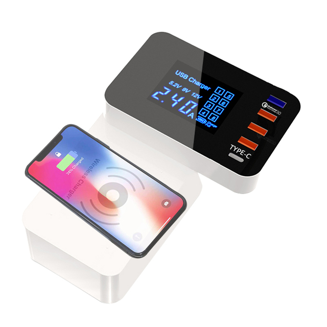 INGMAYA Smart USB Charger Qi Wireless Charging Station Quick Charge 3.0 For iPhone X Samsung S8 Edge Huawei Nexus Mi AC Adapter
