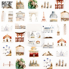 46pcs/pack Hand Painted Sticker The History Of World Building Student Gift Diary Album Account Decoration Stickers Scrapbooking