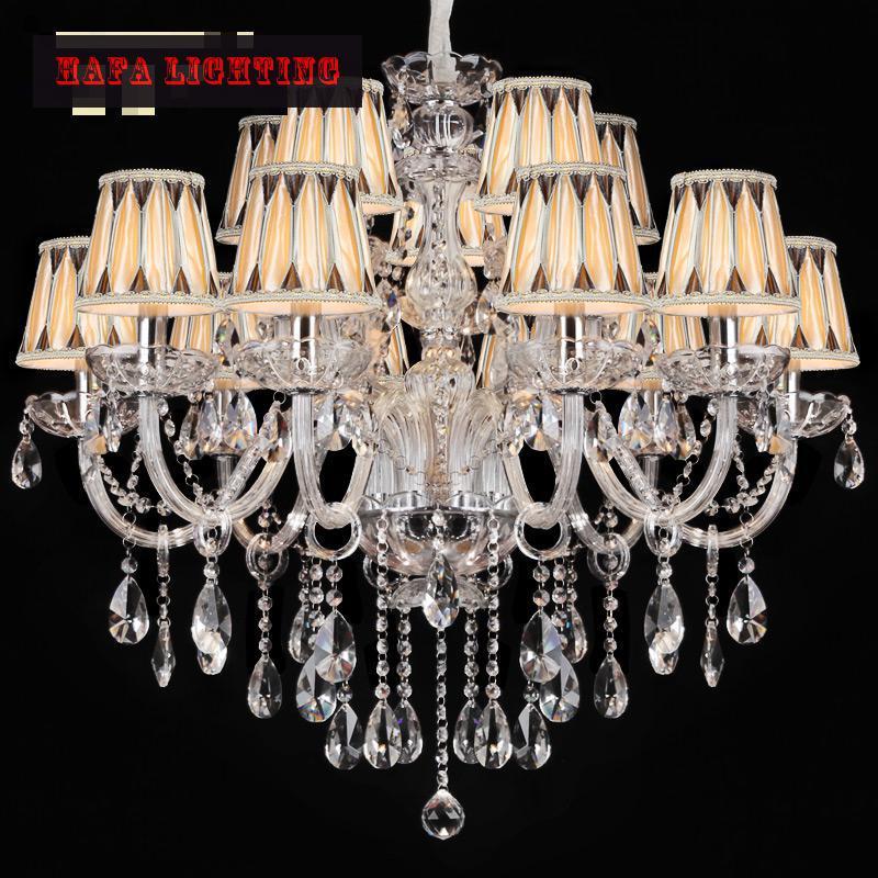 Doprava zdarma 15 ramenný křišťálový lustr lampový lustr Domácí luxusní čirý transparentní velký lustr s / bez stínidla