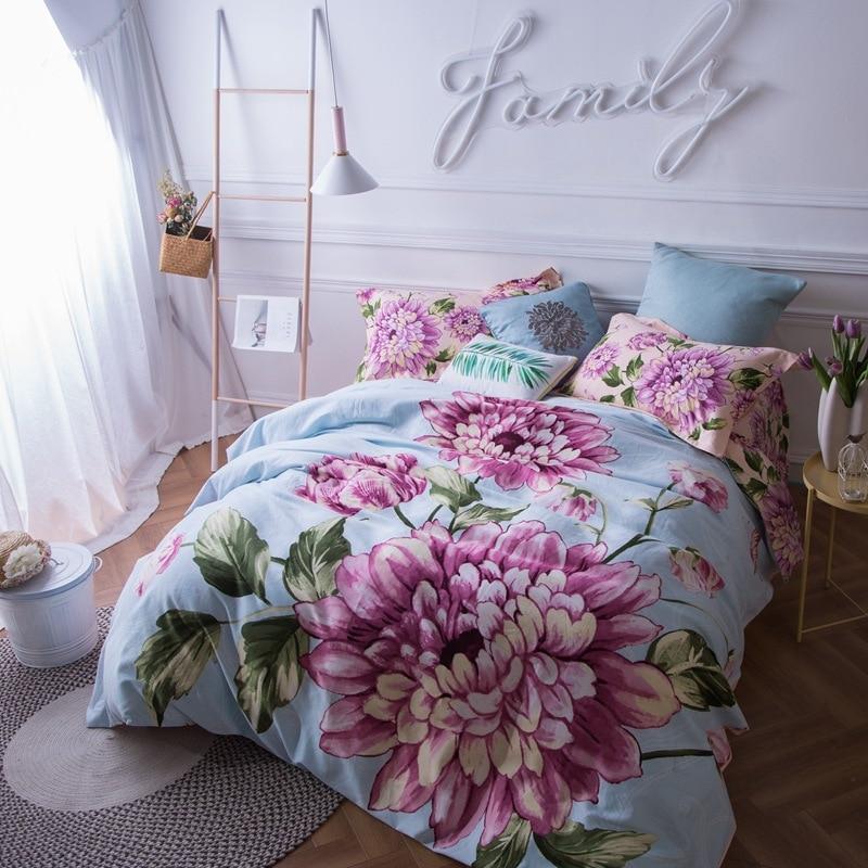 Luxury Tencel flower printed Queen King Size bedding sets wedding decoration duvet cover pillowcase bedclothes comforter set