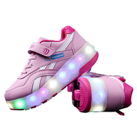 Pulley Double Single Wheels Roller Skates LED Switch Rechargeable Adult Teenagers Light Sneaker Flashing Skating Shoes Summer