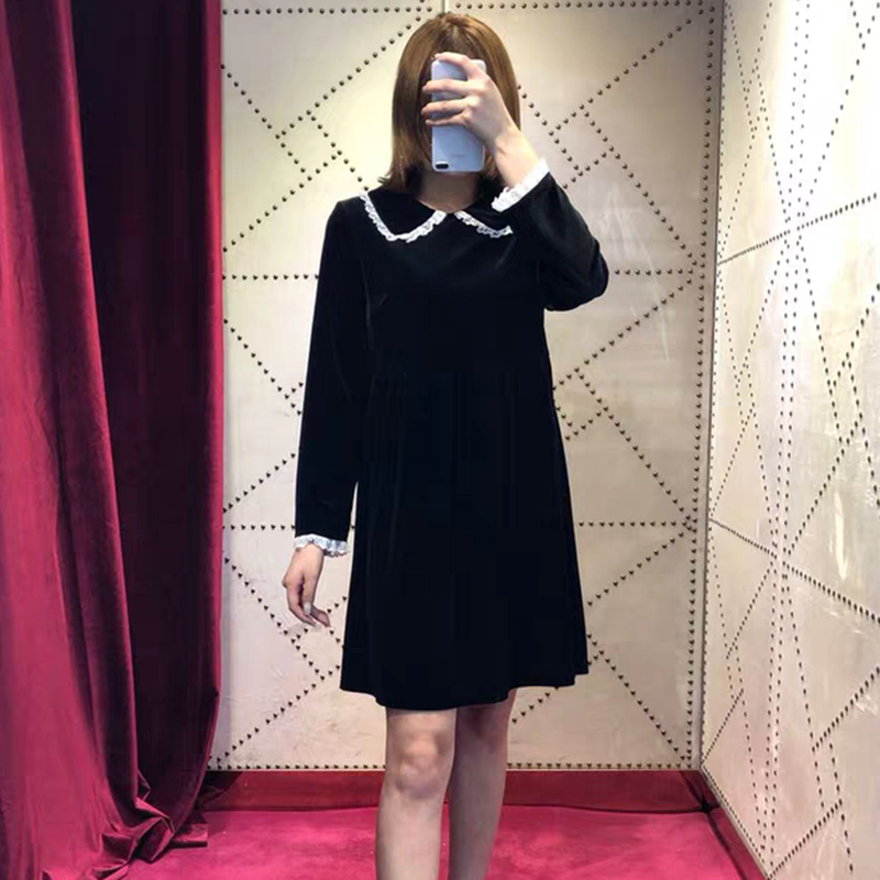 Velvet Dresses Party Women Autumn Winter 2018 New Vintage Peter pan Collar Dress Mini Preppy Female