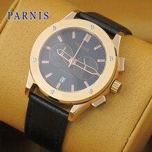 2016 Hot Hot Sale Parnis Watches Men 41mm Golden Case Chronograph Movement Men's Watch Quartz Wristwatch Genuine Leather