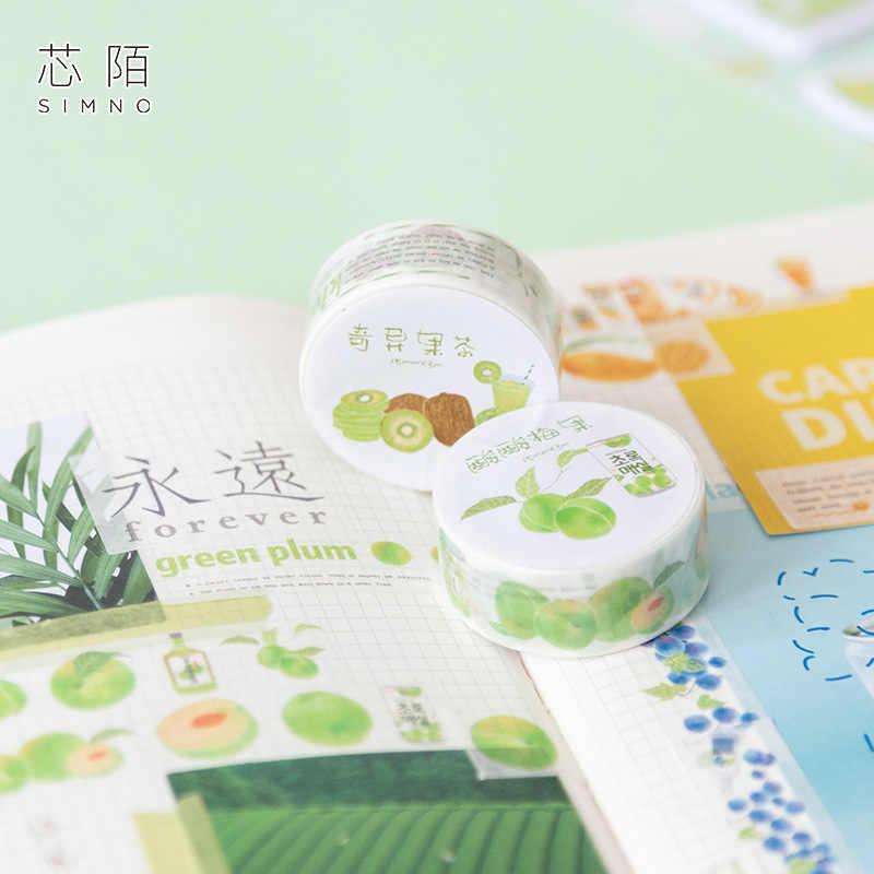 1.5 Cm Buah Minum Teh Seri Persik Cherry Washi Tape Diy Scrapbooking Stiker Label Masking Tape Sekolah Kantor Pasokan