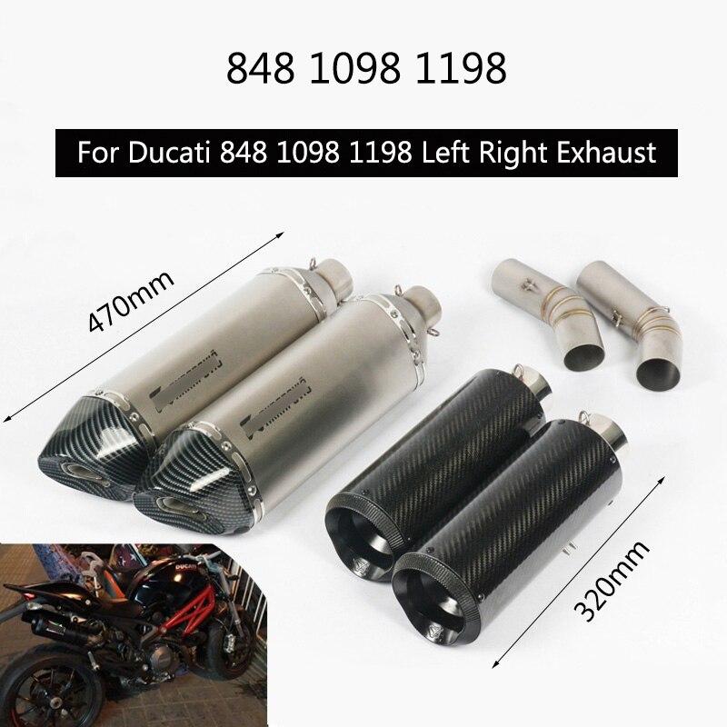 (Gauche et droite) pour Ducati 848 848 EVO 1098 1198 tuyau d'échappement sans lacet 51mm d'échappement arrière moto silencieux échappement