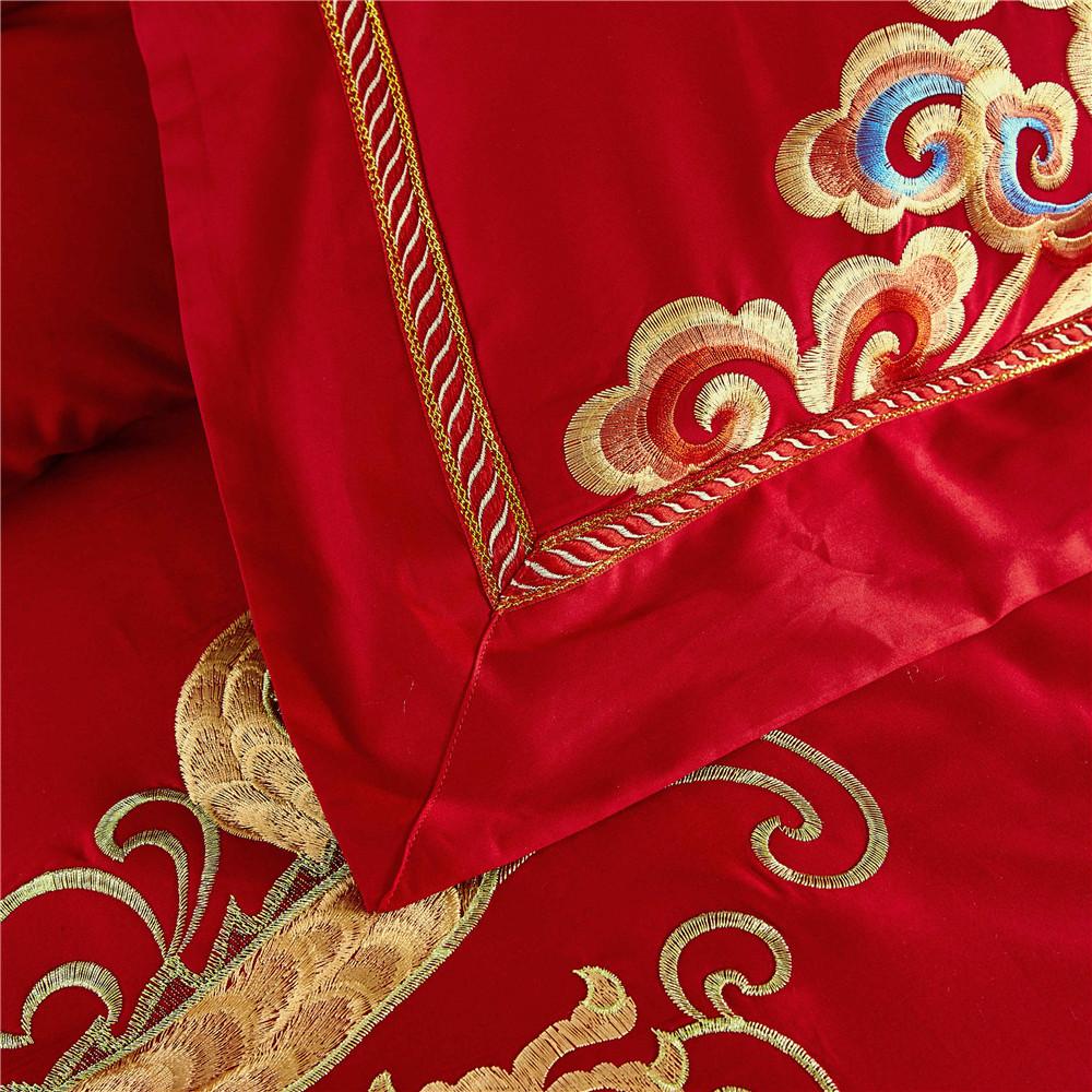 270 62 Ensemble De Literie Rouge De Mariage Chinois Literie Asiatique Avec Dragon Et Phoenix Oiseau Broderie Housse De Couette Ensembles 6 Pièces